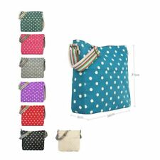 ADIES CANVAS POLKA DOT SATCHEL TOTE BAG CROSS BODY MESSENGER SHOULDER HANDBAG