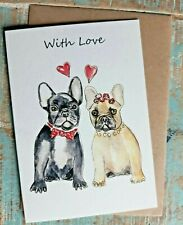 Greetings card With Love French Bulldog  water colour  British made Blank