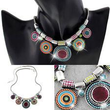 Fashion Lady Pendant Chain Crystal Choker Chunky Statement Bib Necklace Jewelry