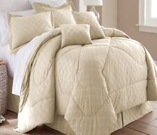 Spirit Linen Hotel 5th Ave 6 Piece Embossed Plaid Comforter Set, Queen, Ivory