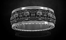 Gothic Skull with heraldic lily Mens Wedding Band Biker oxidized Ring 925