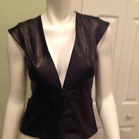 Mason Deep V Unique Leather / Cotton Black Vest Size 0 New 678$
