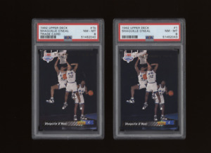 1992 Upper Deck SHAQUILLE O'NEAL Rookie Pair 1 and 1B (Trade and Reg RC)  PSA 8