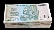 100 x Zimbabwe 50 million dollar banknotes-low to mid grade full bundle-2008/AA