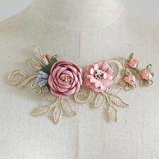 2Pcs Wedding Dress Lace Applique 3D Flower Embroidery Lace Fabric Clothes Patch