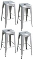 Loft Style 30 in. Stackable Metal Bar Stool Silver (Set of 4) Stools Lightweight