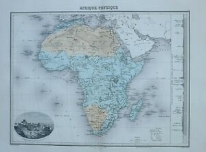 1890 HAND COLOURED MAP AFRICA PHYSICAL SAHARA DIAMOND FIELD NEAR BLOEMFONTEIN
