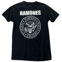 Ramones Presidential Seal Graphic T-Shirt Black Spell Out 100% Cotton Medium