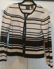 B Moss Size Small Cardigan Sweater in Black, Cream and Beige