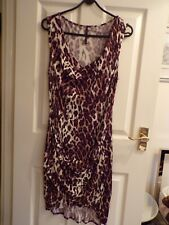 KAREN MILLEN LEOPARD PRINT SLEEVELESS DRESS SIZE UK 16