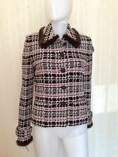 St. John Jacket Sweater Blazer Mink Knit Pink Black White Size 6