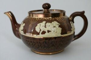 Vintage Gibsons England Brown/Cream/Gold Cameo Style Teapot