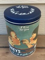 "Vintage 1980 Hershey's Kisses Milk Chocolate Tin Can ""A Kiss For You"""