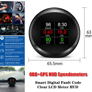 Car Head up Display Device OBD+GPS Smart Digital Fault Code Clear LCD Meter HUD