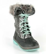 New - Justice Girl's Faux Fur Knit Sweater 0345-0098 Gray/Teal Snow Boots - 2M