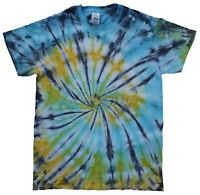 Blue, Yellow, Black TIE DYE T SHIRT Top Fashion Tye Die Tshirt Festival Rainbow