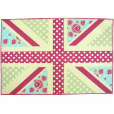 Kids Childrens Girls Patchwork Pink Lilac Anti Slip Bedroom Rug Mat 60 X 90cm