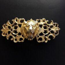 Vintage Gold Tone Gothic Lion Buckle  Designer Signed Gay Boyer