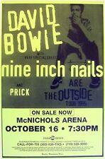 "DAVID BOWIE / NINE INCH NAILS / PRICK ""OUTSIDE TOUR 1995"" DENVER CONCERT POSTER"