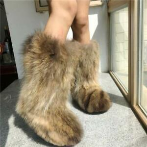 Luxury Womens Winter Fluffy 100% Genuine Original Fox Fur Warm Eskimo Long Boots