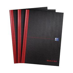 Oxford Black n' Red A4 Hardback Casebound Notebook, Pack 3