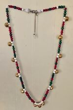 """Nwot Ooak Christmas Red Green White Speed Beads Gold Bells Horse Necklace 61"""""""