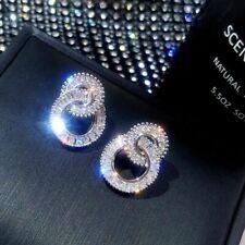 Luxury 925 Silver Hoop Earrings Women Anniversary Jewelry Cubic Zirconia A Pair