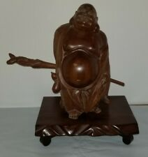 """Vintage 60's 9"""" Carved Wooden Wood Happy Laughing Lucky Buddha Statue"""