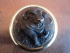 VINTAGE SIGNED ENGLISH BRONZE AND BRASS BULL PAPERWEIGHT - DESK TOP DISPLAY.
