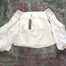 Greysn Women's White Off-Shoulder Puff-Sleeve Top NWT Size Small $273 MSRP