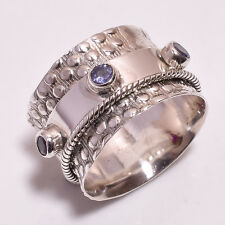 925 Solid Sterling Silver Meditation Ring Size UK P1/2, Tanzanite Jewelry R3752