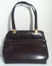Vintage Fashion Right Handbag Brown Top Handle Purse with Gold Tone Hardware