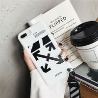 OFF WHITE Soft Phone Case Cover With Lanyard For iPhone 11 Pro 7 8 Black White