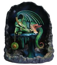 "8.5"" Time Dragon Emerald By Rose Khan Statue Fantasy Sculpture Gothic Dragon Cat"