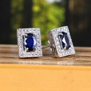 Blue Sapphire Stud Earrings Halo Statement Delicate 925 Sterling Silver Handmade