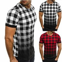 Men's Slim Fit Short Sleeve Muscle Tee Tartan Plaid T-shirt Casual Tops Shirts