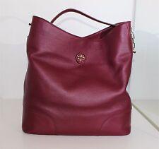 TORY BURCH Whipstitch Logo Hobo Tote Leather Shoulder Bag Satchel Agate handbag