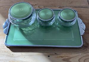 Vintage Art Deco Metal & Glass dressing table tray set