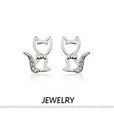 GORGEOUS 18K WHITE GOLD PLATED AND AUSTRIAN CRYSTAL CAT EARRINGS
