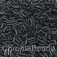 50g Glass Bugle Beads - Black Opaque - Approx 4mm Tubes Craft Jewellery Making