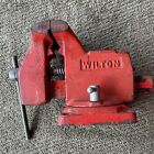 """Vintage WILTON Bench Vise Red w/ Anvil - 4"""" Jaws With 3-3/4"""" Opening - Made USA"""