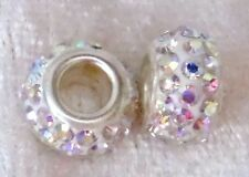 Strass Großlochperle - Form: Ring - Farbe kristall AB - 12 x 7 mm - ID 4 mm