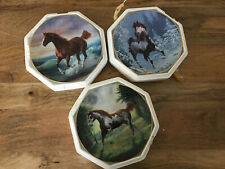 Lot of 3 Hamilton Collector Plates Horses Winter Renegade, Painted Sunrise, Surf