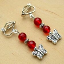 Clip On Butterfly Earrings With Red Glass Beads Drop Dangle Style LB609