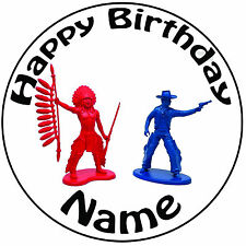 """Personalised Cowboy And Indian Icing Cake Topper Round Easy Pre-cut 8"""" (20cm)"""