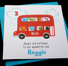 Handmade Personalised Big Red Bus Birthday Card