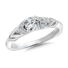 0.58 Ct Certified Real Diamond Engagement Ring Hallmarked 14K White Gold Size J