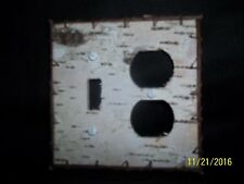 Birch Bark Electrical Combo Switch Plate Cover Outlet and Toggle Switch