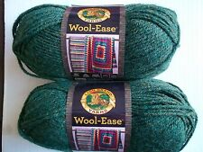 Lion Brand Wool-Ease wool blend yarn, Forest green heather, lot of 2(197 yds ea)
