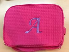 Cosmetic Makeup Toiletry Travel Bag Holder Pouch Pink Waffle Fabric Monogrammed